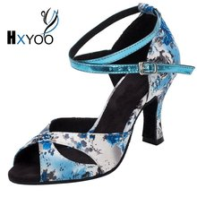 HXYOO 2017 Professional Latin Shoes Dance Women Ballroom Shoes Salsa Ladies Satin Soft Sole Buckle Blue Flower With White WK014