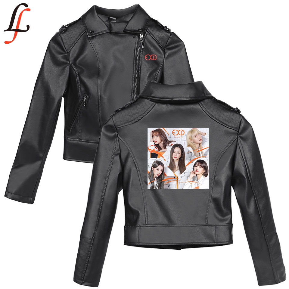 EXID K pop Harajuku Autumn Winter Faux   Leather   Style Solid Print Jackets Basic Women Slim Zipper   Leather   clothing Jackets Clothe