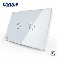 US AU Standard Livolo Ivory White Crystal Glass Panel AC 110 250V 50 60Hz Wireless Remote
