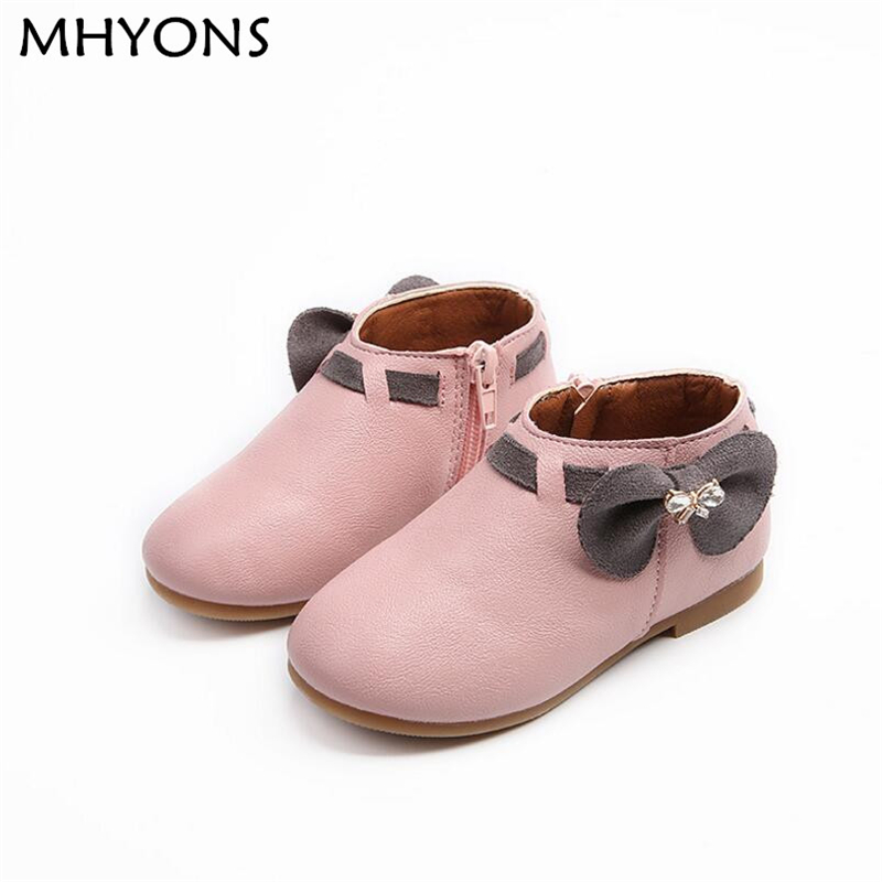 MHYONS Girls Boots Princess 2018 New Toddler Autumn Fashion Bowknot Children Snow Boots ZIP Kids Shoes For Girls Sneakers PU 708 ...