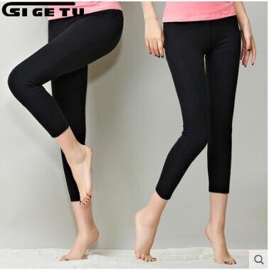 2018 femmes taille haute Fitness yoga pantalon femme Sport couleur Pure Stretch recadrée Leggings dame yoga pantalon