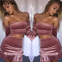 New Sexy Factory Outlets Wholesale Women 2017 Autumn Pink Long Flare Sleeves Strapless 2 Pcs Evening