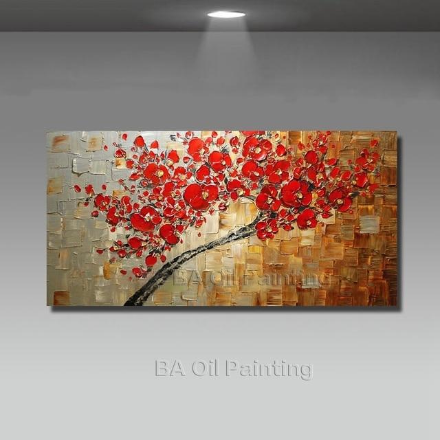 Handgefertigte Abstrakte Leinwand Rot Ölgemälde Dekoration Moderne Kunst 1  Stücke Große Wandbilder Für Wohnzimmer Kein Gestaltet