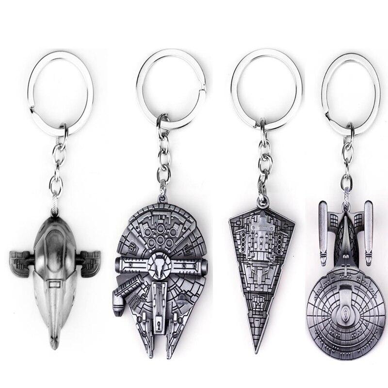 New design Star Wars Millennium Falcon Keychain SpaceShip Metal KeyRing porte clef chaveiro key chain for car free shipping star design body chain