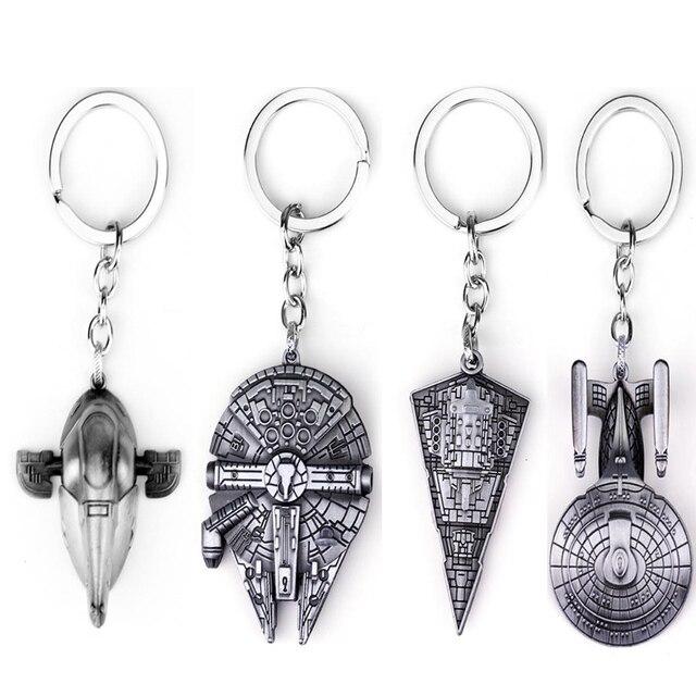 Thiết kế mới Sao Cuộc Chiến Tranh Đồ Trang Sức Falcon Keychain Tàu Vũ Trụ Kim Loại KeyRing porte khóa của âm nhạc chaveiro móc chìa khóa cho xe miễn phí vận chuyển