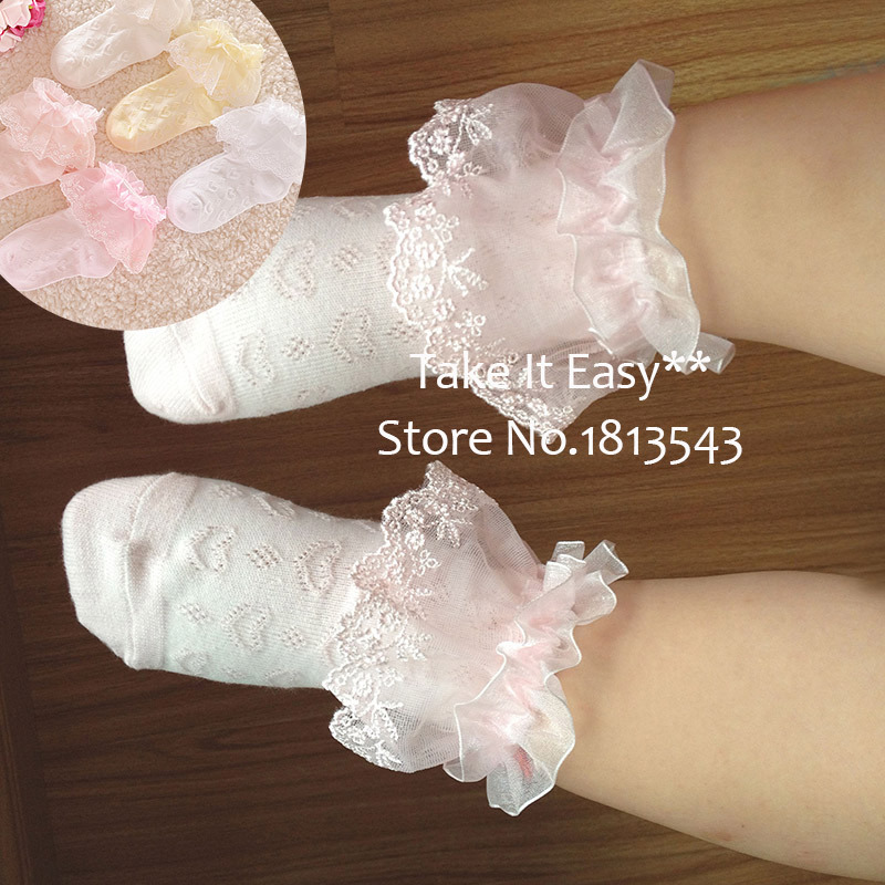 one pairs  kids princess dance lace socks Frilly Ruffled Lace Trim Ankle baby girl Socks Anklet breathable student socks