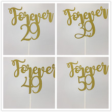 11,25*15 cm Gold Glitter Forever 29/39/49/59 torta Toppers para 30th/40th/50th/60th cumpleaños fiesta Anniversay torta decoraciones(China)