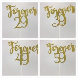 11,25*15 см золотые блестки навсегда 29/39/49/59, топперы для торта на день рождения, юбилеи, украшения для торта 30/40/50/60