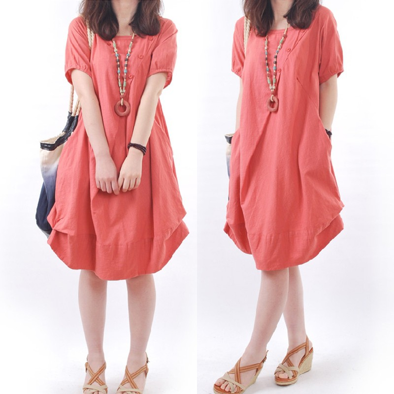 a312bc78a9a Sleeve Style  Short Sleeve Occasion  Casual Season  Summer Product  Description  Womens Round Neck Short Sleeve Cotton Linen Solid Color Loose  Midi Dress