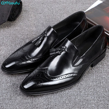 Men Shoes Genuine Leather Pointed Toe Handmade Office Business Brogue Luxury Wedding Tassel Dress Formal Shoe