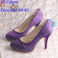 (20 Colors)Hot Selling Purple Perfect Bridal Shoes China Peep Toe with Rhinestones Size 34~42