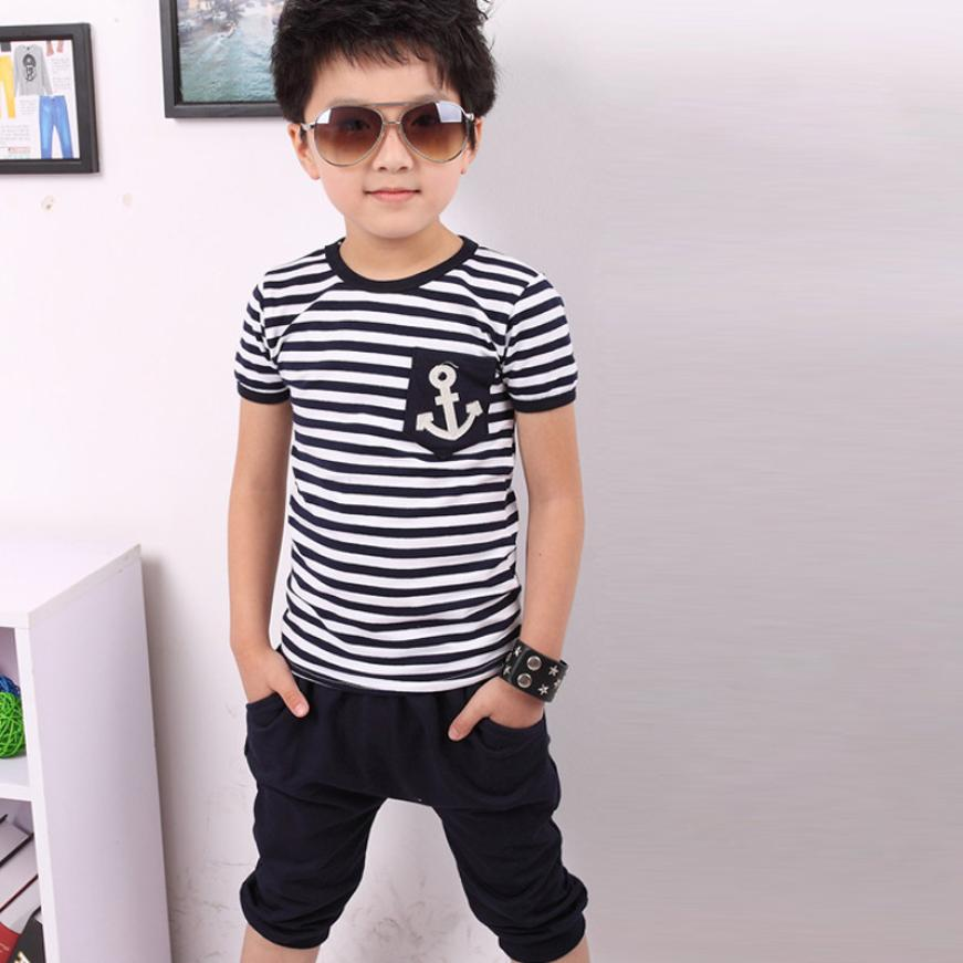 2016 NEW children clothing set anchor boys set baby sets short t shirt+pants 2 pcs set clothes kids suit 2-7Years drop shipping
