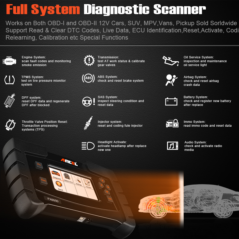Ancel FX6000 All System OBD2 Diagnostic Tool With ABS Airbag SAS EPB Check  Reset OBD2 Automotive Scanner For Car Diagnostics
