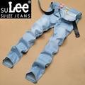 Mens Jeans Denim Jean masculino Regular Jeans de Mezclilla de Algodón de Los Hombres Casuales Pantalones Rectos de Color Sólido