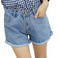 Cintura alta Pantalones Cortos de Mezclilla Para Mujer Primavera Verano 2017 Nuevo Sencillo Vintage Rolled Puños Mujeres Shorts Casual Fashion Corto Feminino