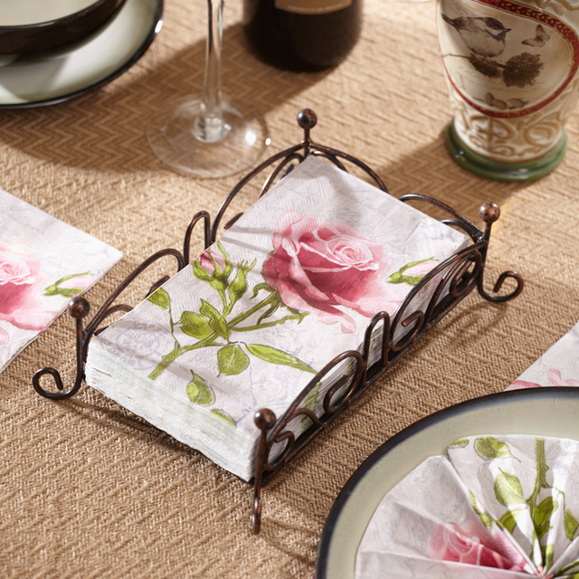 15 napkins red rose guest paper napkins for wedding 3340cm 3 ply pink - Decorative Paper Napkins