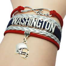 Infinity Love Washington Sports Helmet Charm Bracelets Cuff Customize Men Basketball West Team Sports Bangles for Fans