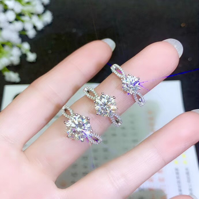 Classic style simplest style various sizes of moissanite 925 silver lady s ring