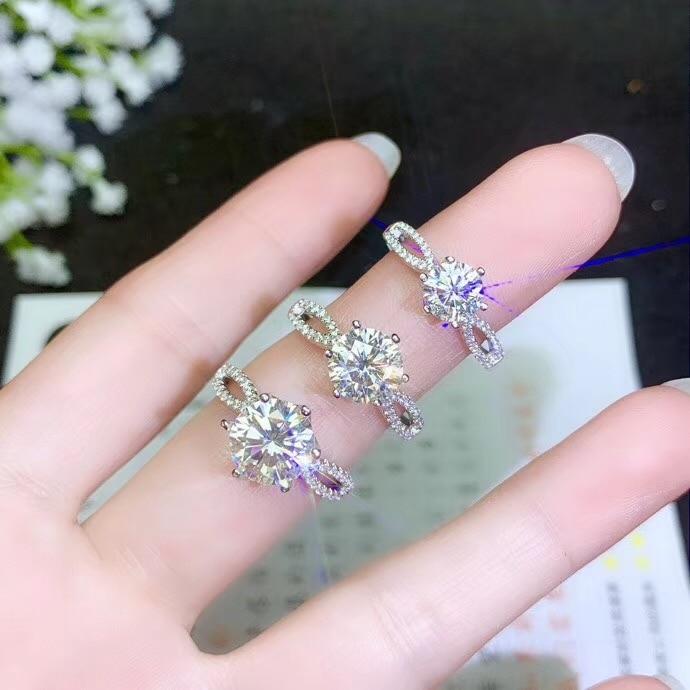 Klasyczny styl, prosty styl, różne rozmiary moissanite, 925 srebrny pierścionek damski w Pierścionki od Biżuteria i akcesoria na  Grupa 1