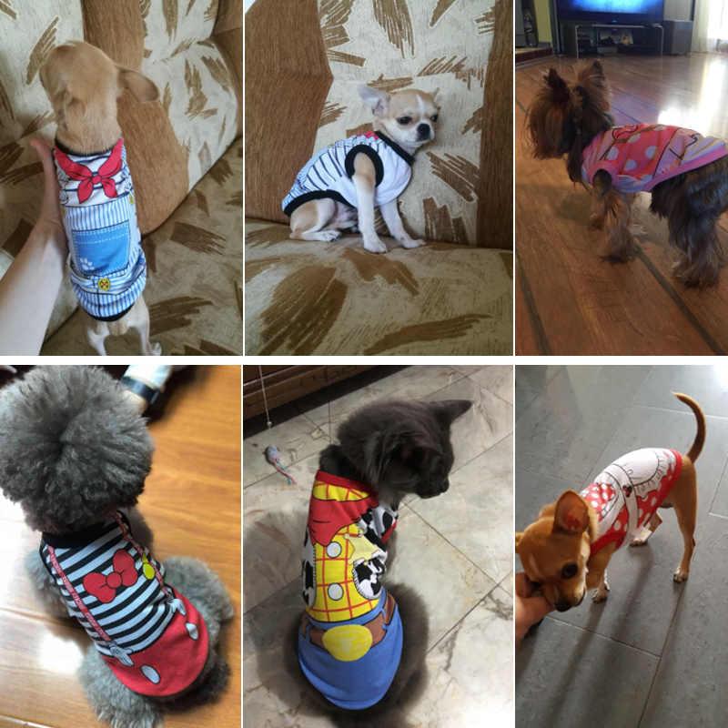 개 옷 개를위한 여름 애완 동물 셔츠 의상 고양이 의류 만화 개 조끼 개를위한 여름 옷 셔츠 면화 작은 매체