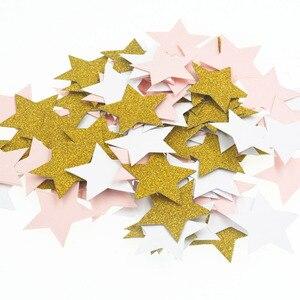 Image 2 - 100 Pcs Kleurrijke Glitter Stervorm Tafel Confetti Verjaardag Bruiloft Decor Kartonnen Confetti Kids Baby Shower Feestartikelen