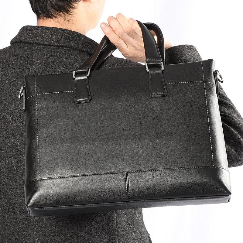 Maletines de cuero auténtico para hombre, bolso para ordenador portátil, bolso para hombre, bolsos de mensajero para hombre, maletín para ordenador portátil de negocios, bolso para hombre-in Carteras from Maletas y bolsas    1