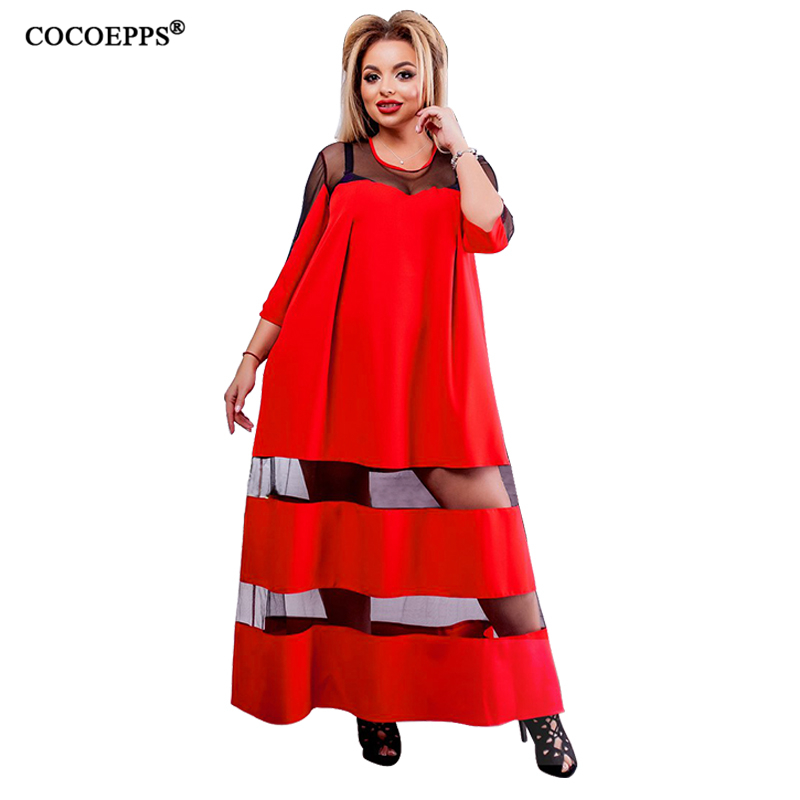 5xl 6xl 2018 plus size long dress perspective mesh maxi big size dress red casual sexy dresses loose summer large size vestidos