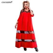 3e88d401b9 5xl 6xl 2019 plus rozmiar długa sukienka perspektywa mesh maxi duże rozmiar  sukienka czerwony na co dzień seksowne sukienki luźn.