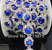 Free shipping 1 Yard 12mm *10mm Sapphire blue Crystal glass rhinestone close silver chain claw trim Wedding dress Decoration