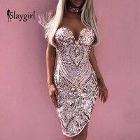 Slaygirl Elegant Summer Dress Women Sexy Slim Bodycon White Party Dress Female V Neck Club Mini Sequin Dress 2019 Vestidos