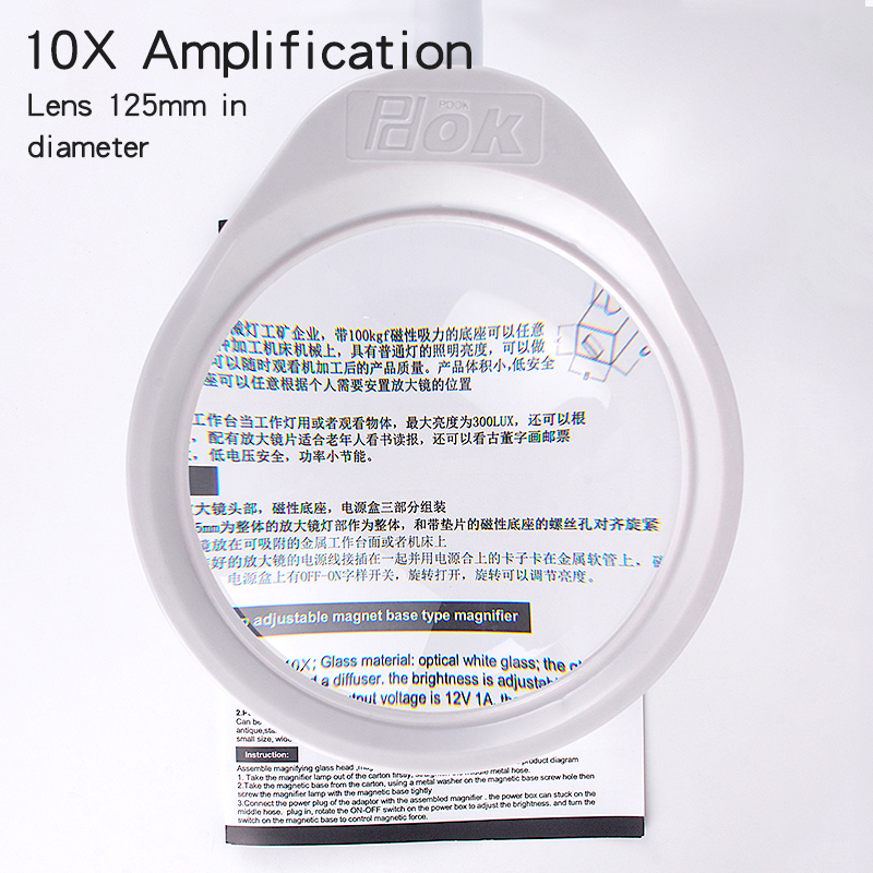 KUAIQU Soldering LED Rework Arms Magnifier Illuminated 8X 5X Lengthen Glass 3X Desk Large Reading Lamp 10X Loupe Magnifying Clip
