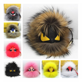 18cm Real  Fox Fur Pom Poms Bag Bug Little Monster Bag Charm Genuine Fox Fur Pompom Keychain Luxury Car Jewelry Pendant  F385