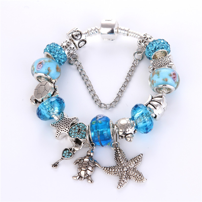 High Quality Blue crystal Ocean Series Noble Pretty Charm Bracelet Pandora Bracelet For Women/Gril gift jewelry Drop Shipping