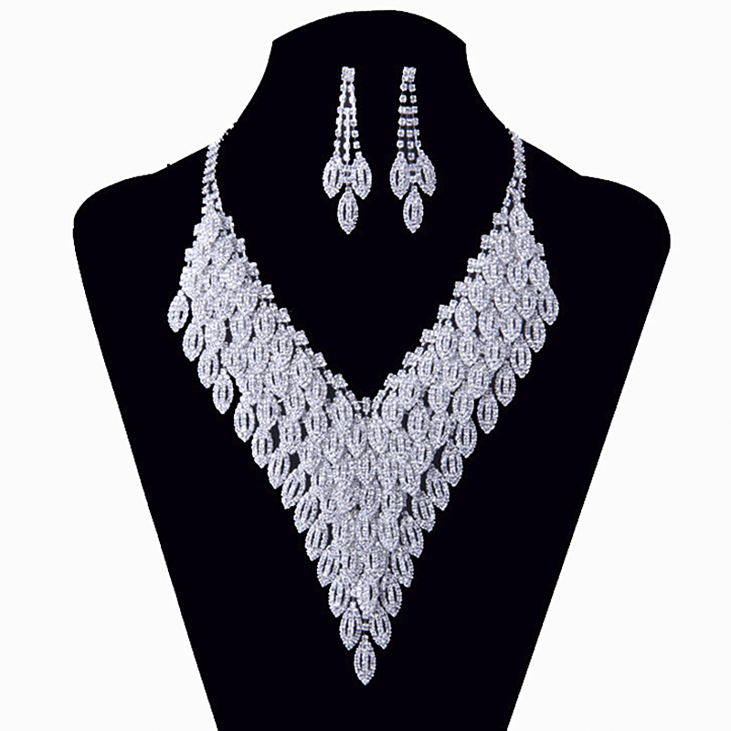 YFJEWE Wedding Gifts Crystal Jewelry Set Silver plated zinc alloy necklace for women long necklaces earring jewelry sets #N129 цены
