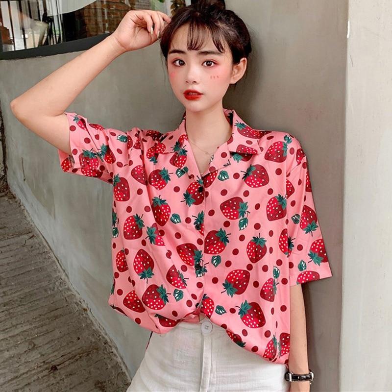 Casual Kpop Strawberry Shirt