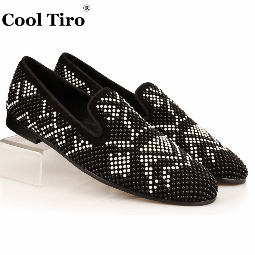 COOL TIRO White Gold Rhinestones Strass Men Loafers Black Suede Slippers  Party Wedding Dress Shoes Men's Flats Genuine Leather - Black And Gold Dress Shoes Promotion-Shop For Promotional Black
