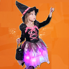 Children Girls LED Light Witch Cosplay Costume Kids Stage Performance Halloween Masquerade Glowing Party Dress Festival Purim