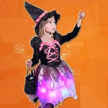 Crianças meninas luz led bruxa cosplay traje crianças palco desempenho halloween masquerade brilhante festa vestido festival purim