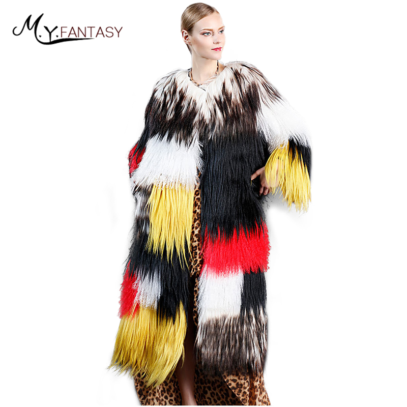 M.Y.FANSTY 2017 Winter Mongolia Sheep Fur Real Fur Coat Striped O Neck Goat Coat Women's Colorful Patchwork X Long Sheep Coats