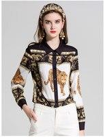 Nuovo arrivo 2018 moda primavera estate sexy chiffon delle donne leopard print manica lunga camicetta di colore oro nero supera button up
