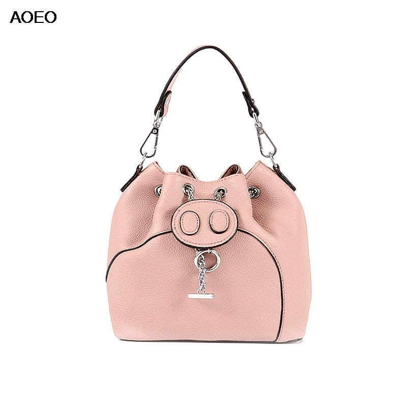 AOEO Womens Genuine Leather Handbag Cute Pig Purses Summer Small Bucket Mesenger Bag Chains Belt Ladies