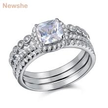 Newshe 1,7 Ct Radiant Cut CZ 3 Pcs Echtes 925 Sterling Silber Hochzeit Ring Sets Engagement Band Für Frauen