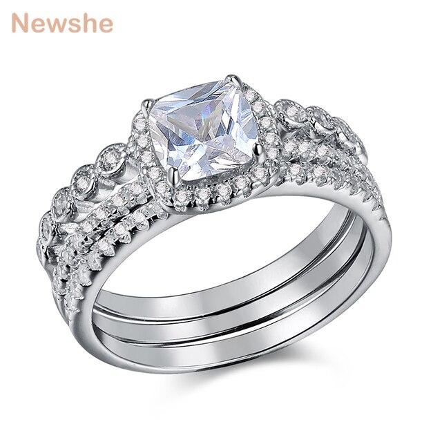 Newshe 1.7 ct radiante corte cz 3 pçs genuíno 925 prata esterlina conjuntos de anel de casamento banda de noivado para mulher