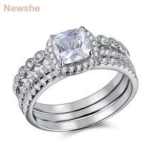 Newshe Conjunto de anillos de plata de ley 1,7 Con zirconia cúbica, conjuntos de anillos de boda con zirconia cúbica, 3 uds.