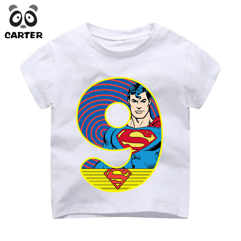 Kid 39 s Superman Happy Birthday Number 1 9th Print T shirts Boy and Girl Superhero Tshirt Baby Summer Top Children Clothes in T Shirts from Mother amp Kids