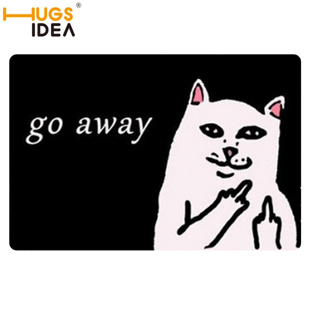 Funny bathroom rugs - Hugsidea Funny 3d Cat Go Away Carpets White Black Thin Rugs And Carpet For Home Living