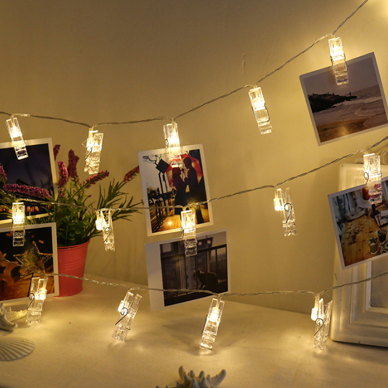 Garland card photo clip string lights 1 2m 10leds led - String lights for bedroom ...