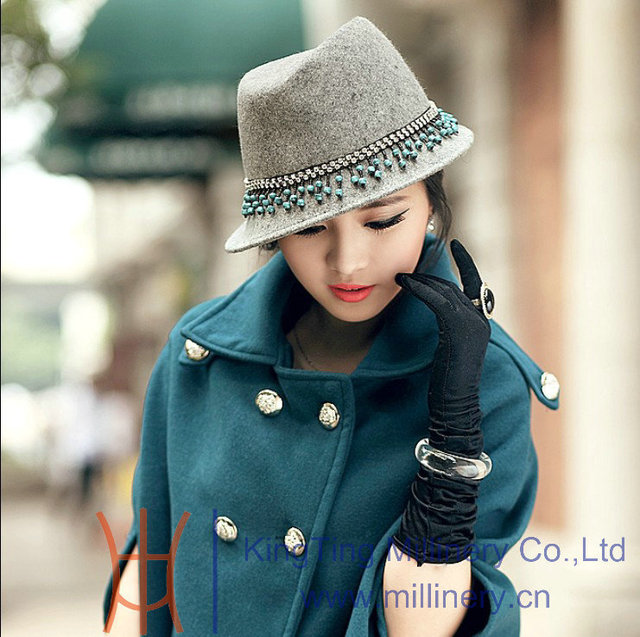 5aee5e0e925 Free Shipping New Arrival Fashion Women Winter Hat Wool Felt Hat Diamond  Casing And Beads With Short Brim Women Hat For Winter