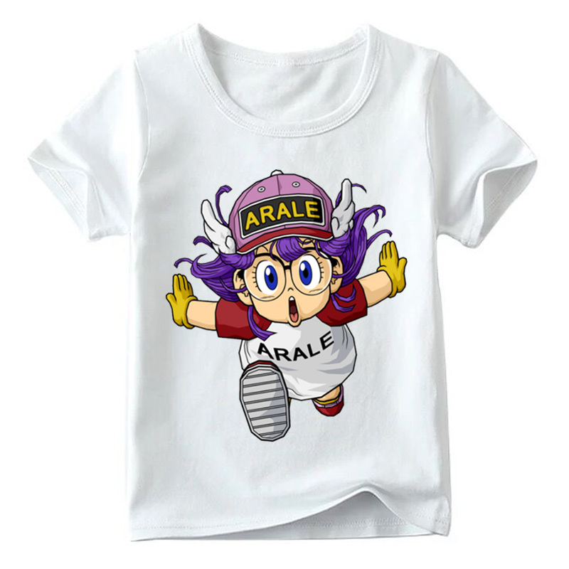 Bambini Anime Dragon Ball Z Arale Design Divertente T-Shirt Estate Dei Neonati/Ragazze Manica Corta Pullover Bambini T-Shirt Morbida, HKP5110