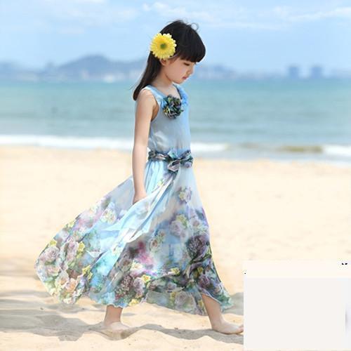 Toddler Girls Beach Dress Elegant Flower Kids Dresses 2019 Teenager Summer Big Girls Teens Holiday Long Girls Maxi Dress 8 10 12